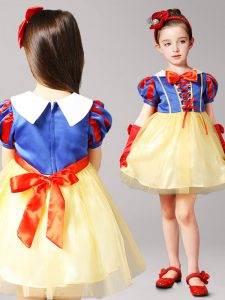 Romantic Blue and Yellow Flower Girl Dresses for Less Party and Quinceanera and Wedding Party and For with Bowknot High-
