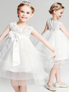 Tulle Scoop Sleeveless Zipper Appliques and Bowknot Flower Girl Dresses for Less in White