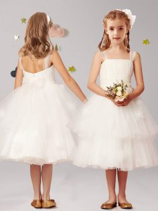 White Straps Neckline Appliques and Ruffled Layers and Bowknot Flower Girl Dress Sleeveless Zipper