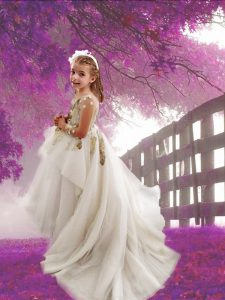 Artistic White Flower Girl Dresses Party and Quinceanera and Wedding Party and For with Appliques Scoop Long Sleeves Cou