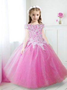 Fancy Off the Shoulder Beading and Appliques Toddler Flower Girl Dress Hot Pink Zipper Cap Sleeves Floor Length