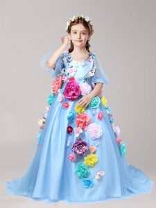 Luxury Half Sleeves With Train Zipper Flower Girl Dresses Baby Blue for Party and Quinceanera and Wedding Party with Han