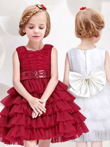 Scoop Red Tulle Zipper Flower Girl Dresses for Less Sleeveless Mini Length Ruffled Layers and Sequins and Bowknot