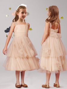 Straps Appliques and Ruffles and Bowknot Flower Girl Dresses for Less Champagne Zipper Sleeveless Tea Length