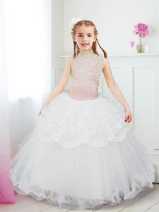 Vintage White Halter Top Zipper Beading and Lace Toddler Flower Girl Dress Sleeveless
