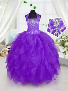 Beauteous Halter Top Purple Sleeveless Floor Length Appliques and Ruffles Lace Up Little Girl Pageant Gowns