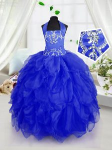 Halter Top Sleeveless Organza Pageant Gowns For Girls Appliques and Ruffles Lace Up