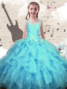 Simple Halter Top Aqua Blue Ball Gowns Beading and Ruffles Little Girls Pageant Dress Lace Up Organza Sleeveless Floor L