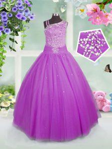 Floor Length Lilac Kids Formal Wear Tulle Sleeveless Beading