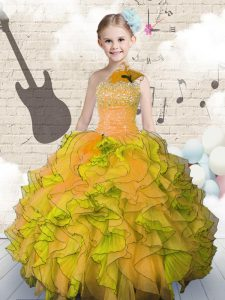 Orange Ball Gowns Organza Strapless Sleeveless Beading and Ruffles Floor Length Lace Up Kids Formal Wear