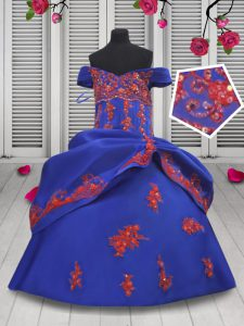 Customized Off the Shoulder Royal Blue Ball Gowns Beading and Appliques Pageant Gowns For Girls Lace Up Satin Sleeveless