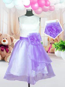 Stylish Scoop Lilac Ball Gowns Hand Made Flower Flower Girl Dresses for Less Zipper Organza Sleeveless Knee Length