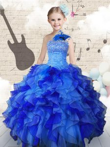 Modest Floor Length Ball Gowns Sleeveless Navy Blue Little Girls Pageant Gowns Lace Up