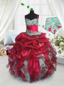 Sleeveless Floor Length Beading and Ruffles Lace Up Kids Formal Wear with Red