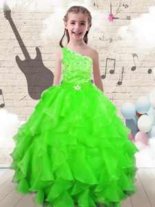 Lace Up One Shoulder Beading and Ruffles Kids Formal Wear Organza Sleeveless