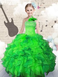 Green Ball Gowns Beading and Ruffles Pageant Dresses Lace Up Organza Sleeveless Floor Length