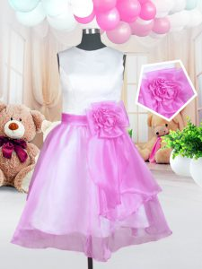 Shining Ball Gowns Flower Girl Dress Rose Pink Scoop Organza Sleeveless Knee Length Zipper