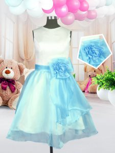 Glamorous Light Blue Flower Girl Dresses for Less Military Ball and Sweet 16 and Quinceanera and For with Hand Made Flow