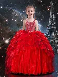 Red Sleeveless Organza Lace Up Pageant Dress for Teens for Party and Wedding Party