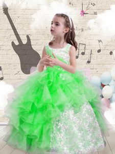 High Quality Bateau Neckline Beading and Ruffles Custom Made Pageant Dress Sleeveless Lace Up