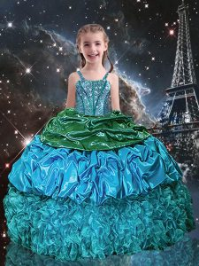 Custom Fit Aqua Blue Ball Gowns Beading and Ruffles and Pick Ups Little Girl Pageant Gowns Lace Up Organza Sleeveless Fl