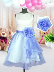 Flare Scoop Baby Blue Sleeveless Organza Zipper Flower Girl Dress for Military Ball and Sweet 16 and Quinceanera