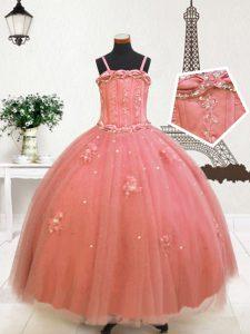 Beauteous Sleeveless Zipper Floor Length Beading and Appliques Pageant Dress Womens