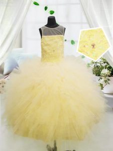 Scoop Sleeveless Tulle Little Girl Pageant Gowns Beading and Appliques Zipper