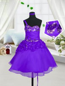 Knee Length Eggplant Purple Toddler Flower Girl Dress Organza Sleeveless Beading and Hand Made Flower