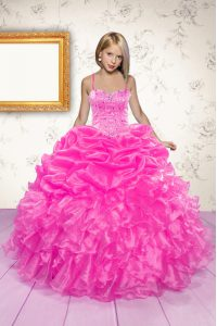 Hot Pink Organza Lace Up Child Pageant Dress Sleeveless Floor Length Beading and Ruffles and Pick Ups
