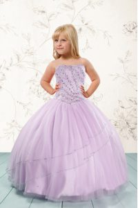 Lilac Sleeveless Beading Floor Length Child Pageant Dress