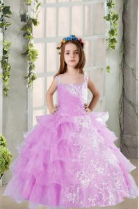 Lavender Square Lace Up Lace and Ruffled Layers Little Girls Pageant Dress Wholesale Sleeveless
