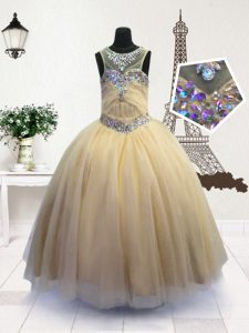 Attractive Scoop Light Yellow Sleeveless Organza Zipper Little Girls Pageant Gowns for Party and Wedding Party