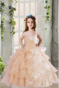 Champagne Sleeveless Floor Length Lace and Ruffled Layers Zipper Kids Pageant Dress