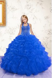 Royal Blue Ball Gowns Halter Top Sleeveless Organza Floor Length Lace Up Beading and Ruffles Pageant Dress for Womens