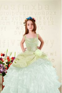 Cheap Organza Sleeveless Floor Length Pageant Dresses and Beading and Ruffled Layers