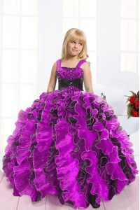 Fuchsia Organza Lace Up Straps Sleeveless Floor Length Little Girls Pageant Dress Wholesale Beading and Ruffles