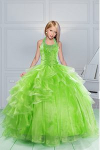 Apple Green Ball Gowns Organza Halter Top Sleeveless Beading and Ruching Floor Length Lace Up Girls Pageant Dresses