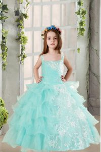 Square Sleeveless Organza Little Girls Pageant Dress Lace and Ruffled Layers Lace Up