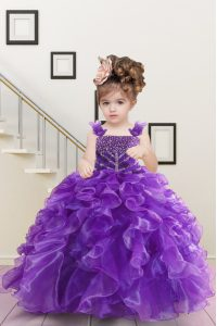 Straps Sleeveless Pageant Gowns For Girls Floor Length Beading and Ruffles Purple Organza