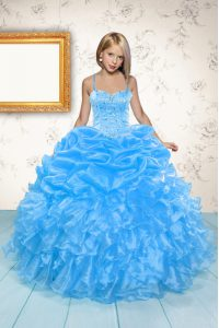 Spaghetti Straps Sleeveless Organza Pageant Dress for Girls Beading and Ruffles and Pick Ups Lace Up