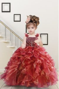 Enchanting Watermelon Red Organza Lace Up Straps Sleeveless Floor Length Little Girls Pageant Gowns Beading and Ruffles