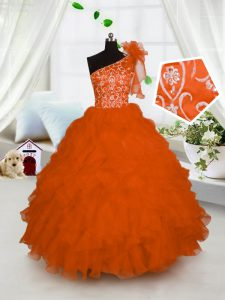 One Shoulder Sleeveless Kids Pageant Dress Floor Length Embroidery and Ruffles Orange Organza