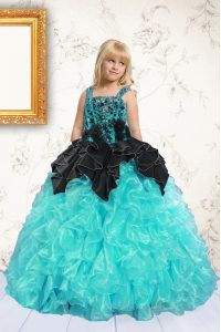 Pick Ups Floor Length Ball Gowns Sleeveless Aqua Blue Little Girls Pageant Dress Wholesale Lace Up