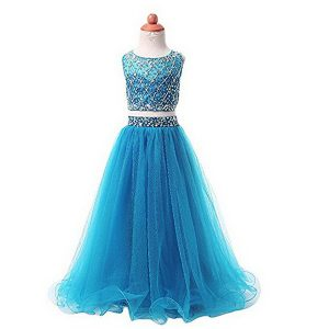 Trendy Scoop Sleeveless Beading Zipper Toddler Flower Girl Dress