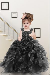 Fashion Black Lace Up Straps Beading and Ruffles High School Pageant Dress Organza Sleeveless