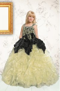 Pick Ups Floor Length Ball Gowns Sleeveless Champagne Little Girls Pageant Dress Wholesale Lace Up