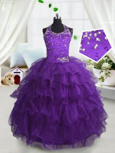 Trendy Purple Scoop Neckline Beading and Ruffled Layers Pageant Dresses Sleeveless Lace Up