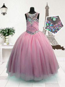 Scoop Floor Length Ball Gowns Sleeveless Pink Girls Pageant Dresses Zipper