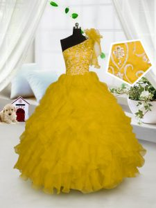One Shoulder Gold Sleeveless Embroidery and Ruffles Floor Length Little Girl Pageant Gowns